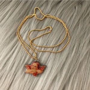 Vintage Raphael Cherub Angel Wooden Charm Necklace